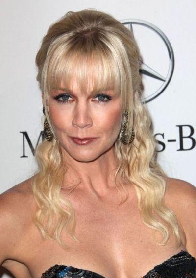 Jennie Garth's Blonde Hair In Curly Half-Up Hairstyle