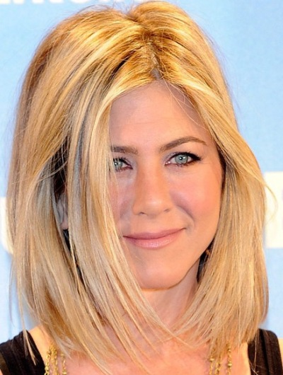 Jennifer Aniston Blonde Sexy Straight Middle Part Lob Hairstyle