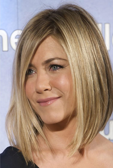 Jennifer Aniston's short or medium-length blonde hairstyle