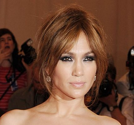 Jennifer Lopez's Brown Hair In Loose Messy Updo