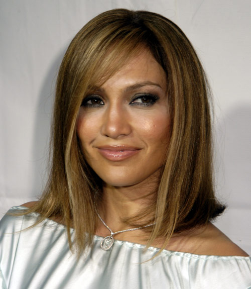 Jennifer Lopez Brown Straight Sexy Hair With Wispy Swoop Bangs