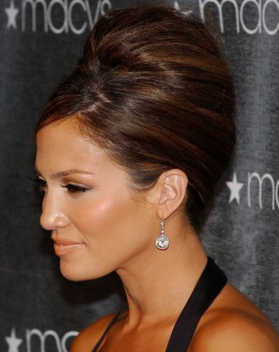 Jennifer Lopez's Long Brown Hair In Beehive Formal Updo Hairdo
