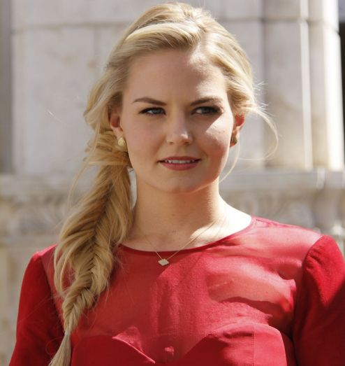 Jennifer Morrison's Long Blonde Hair In Messy Fishtail Braid