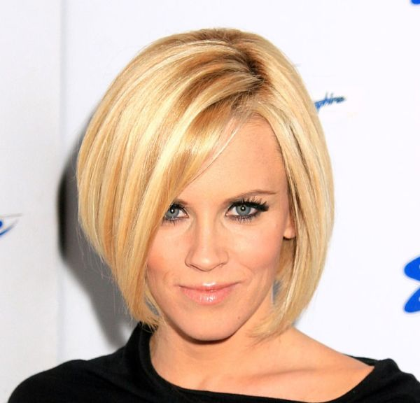 Jenny mccarthy s blonde hair is styled in a short sleek angled bob