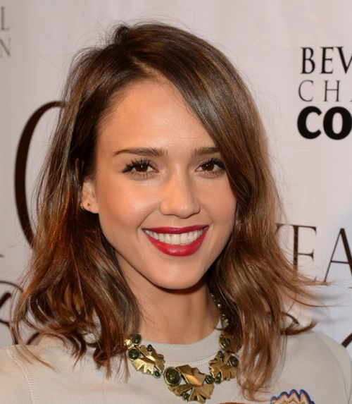 Jessica Alba's Brown Hair In Medium-Length Wavy Party Hairstyle