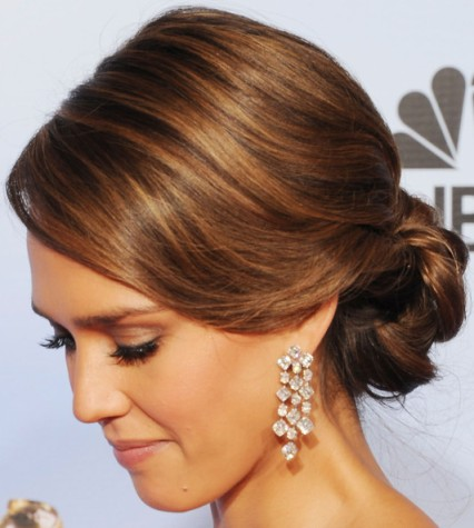 Jessica Alba's Long Brown Hair In A Formal Elegant Updo