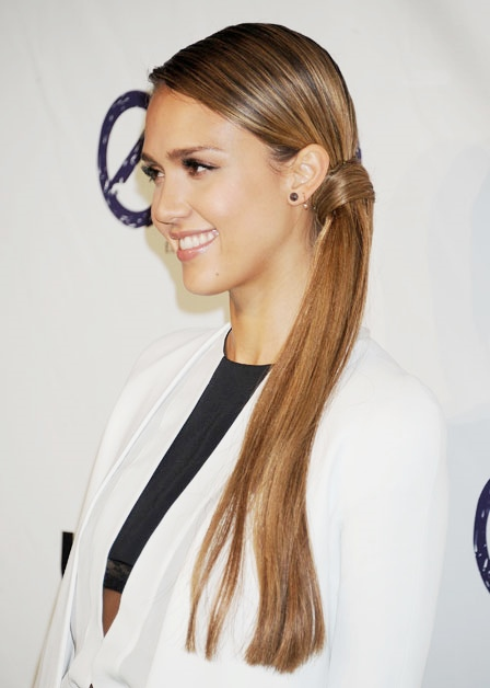 Jessica Alba Long Hair In A Sophisticated Sleek Side Ponytail