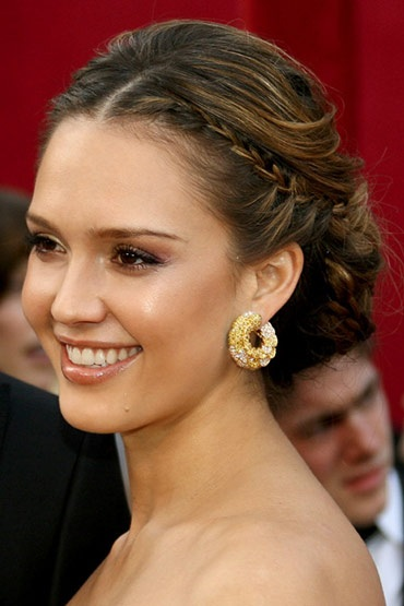 Jessica Alba's French Braided Messy Chignon