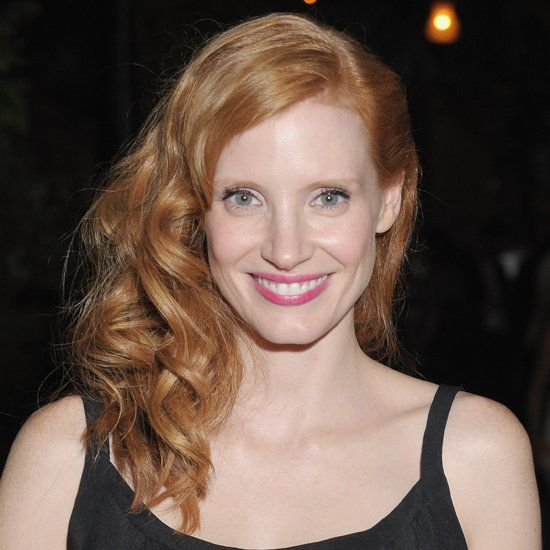 Jessica Chastain's Long Red Hair In Formal Wavy Sideswept Hairdo