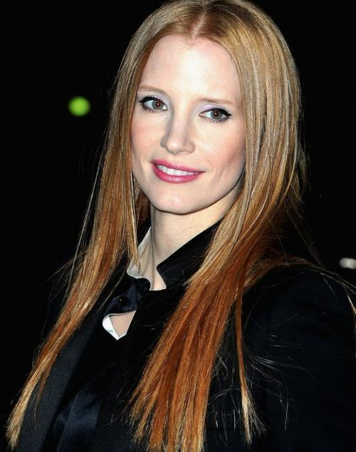 Jessica Chastain's Long Red Hair In Sexy Straight Hairstyle