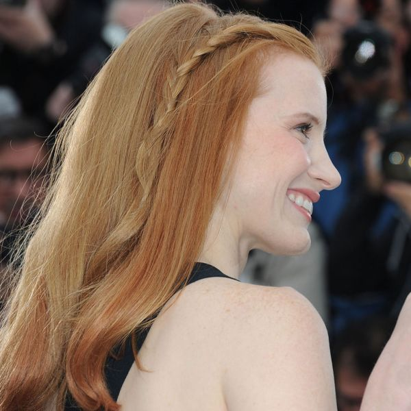 Jessica Chastain's Long Thick Red Hair With A Subtle Braid