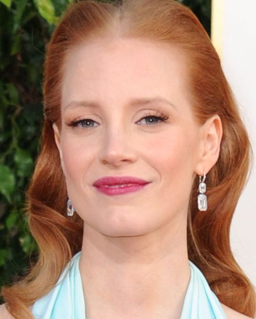 Jessica Chastain's Red Hair In Formal Sleek Back Awards Hairstyle