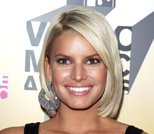 Jessica Simpson's Blonde Hair In Short Sleek Bob Hairstyle