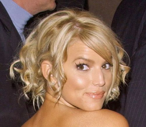 Jessica Simpson's Long Blonde Hair In Loose Curly Formal Updo