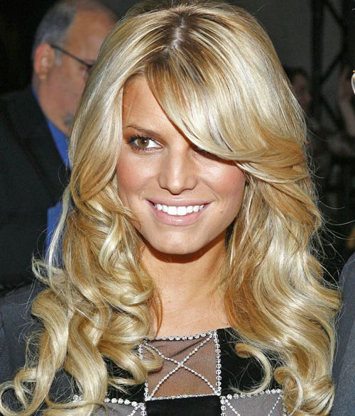 Jessica Simpson's Long Blonde Hair With Sexy Side Bangs