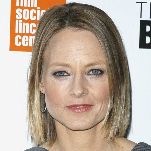 Jodie Foster's Blonde Hair In Sleek Straight Casual Bob Hairstyle