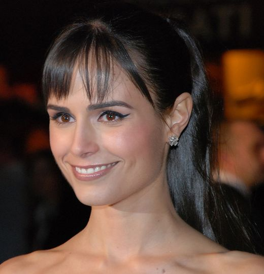 Jordana Brewster's Long Straight Dark Brown Hair In Sleek Ponytail