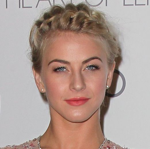 Julianne Hough's Blonde Hair In Braided Milkmaid Formal Updo
