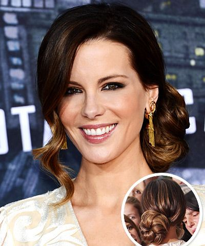 Kate Beckinsale's Brunette Hair In Retro Braided Chignon Hairdo