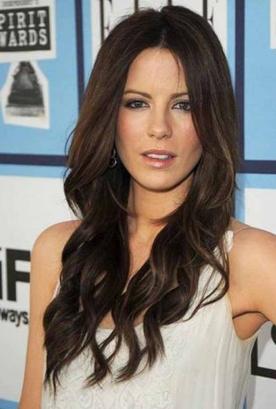 Kate Beckinsale Long Brunette Layered Wavy Beachy Sexy Hairstyle