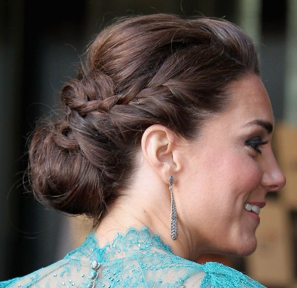 Kate Middleton's Lond Brown Hair In Braided Chignon Updo