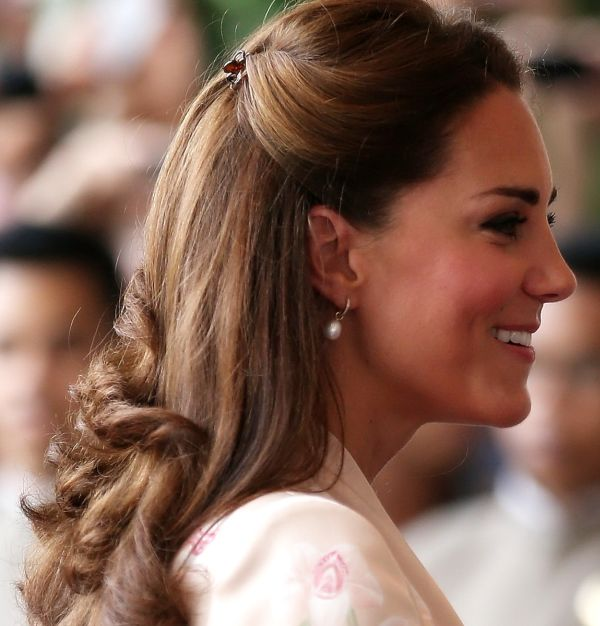 Kate Middleton's Long Brown Hair In Sweet Half-Up Hairdo