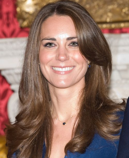 Kate Middleton's Long Brown Hair With Long Side Bangs