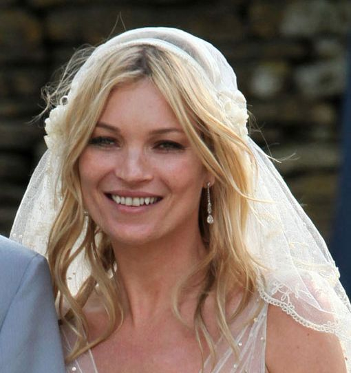 Kate Moss's Blonde Hair In Sexy Wavy Romantic Wedding Hairstyle