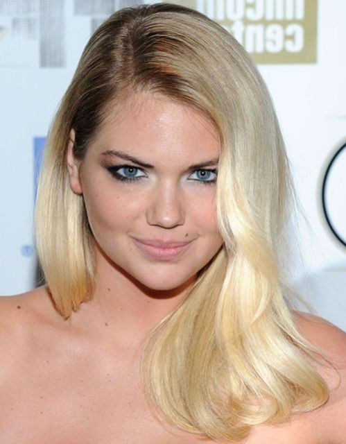 Kate Upton's Blonde Straight Hair With Sexy Deep Side Part
