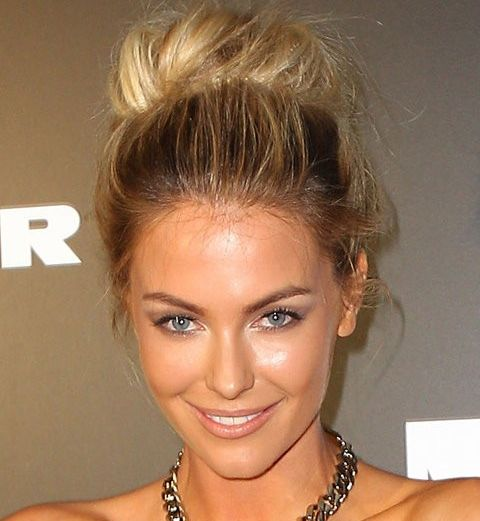 Kate Upton's Long Blonde Hair In Ballerina Bun Prom Hairdo