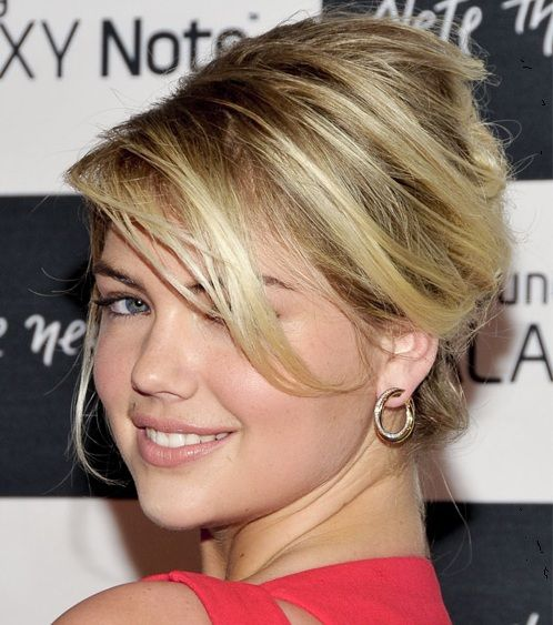Kate Upton's Long Blonde Hair In French Twist Prom Updo