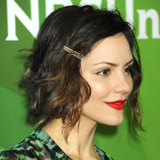 Katharine McPhee's Brunette Hair In Short Wavy Faux Bob Hairdo
