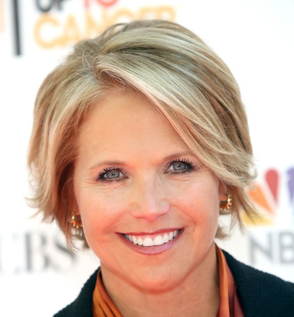 Katie Couric Short Blonde Straight Hair In Mature Cropped Hairstyle