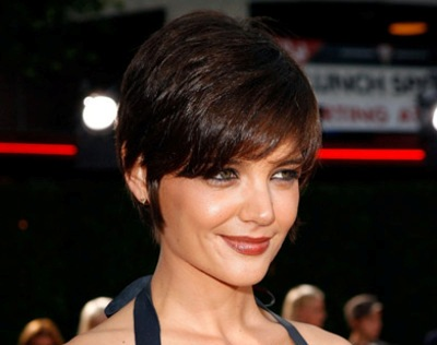 Katie Holmes Chic Short Straight Brunette Cropped Mature Hairstyle