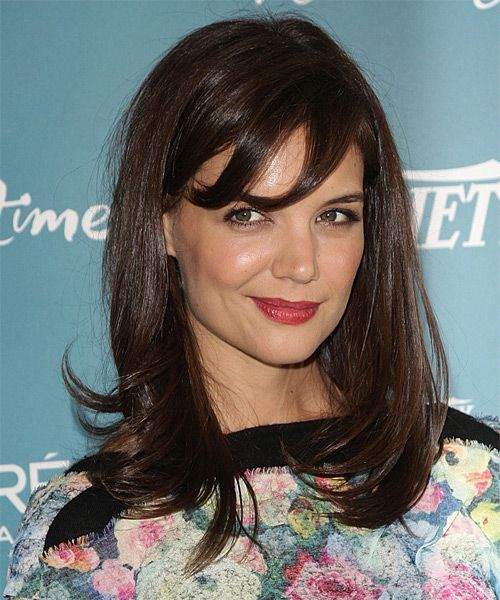 Katie Holmes's Long Brown Hair In Straight Hairstyle With Bangs