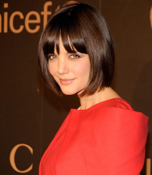 Katie Holmes Sleek Sexy Classy Brunette Bob Hairstyle