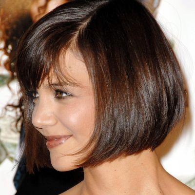 Katie Holmes's Sleek Straight Brown Hair In Wedge Hairstyle