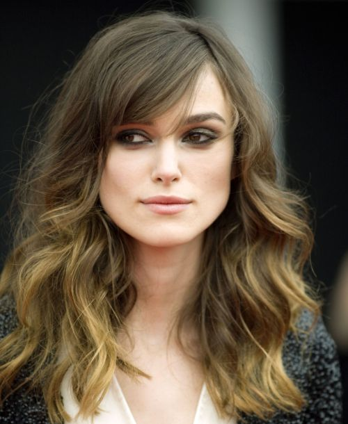Keira Knightley's Brown Hair In Long Wavy Hairstyle With Bangs