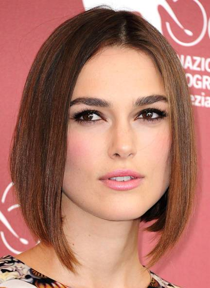 Keira Knightley Straight Brown Hair In A Layered Angled Bob