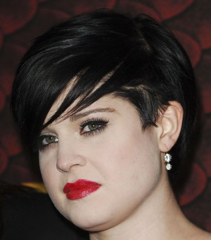 Kelly Osbourne's Straight Chic Black Short Trendy Undercut Hairstyle