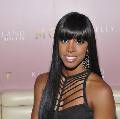 Kelly Rowland Long Black Straight Sleek Hairstyle With Blunt Bangs