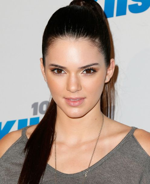 Kendall Jenner's Long Straight Black Hair In Simple Ponytail