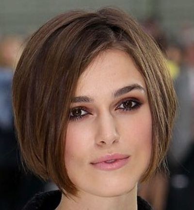 Keira Knightley's Brown Straight Hair In Short Wedge Hairstyle