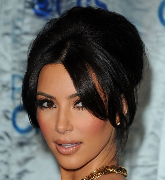 Kim Kardashian's Black Hair In Formal Beehive Updo Hairdo