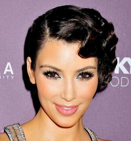 Kim Kardashian Vintage Elegant Finger Wave Formal Updo Hairdo