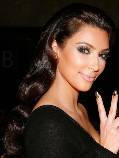 Kim Kardashian S Long Wavy Hairstyle Party Formal Evening