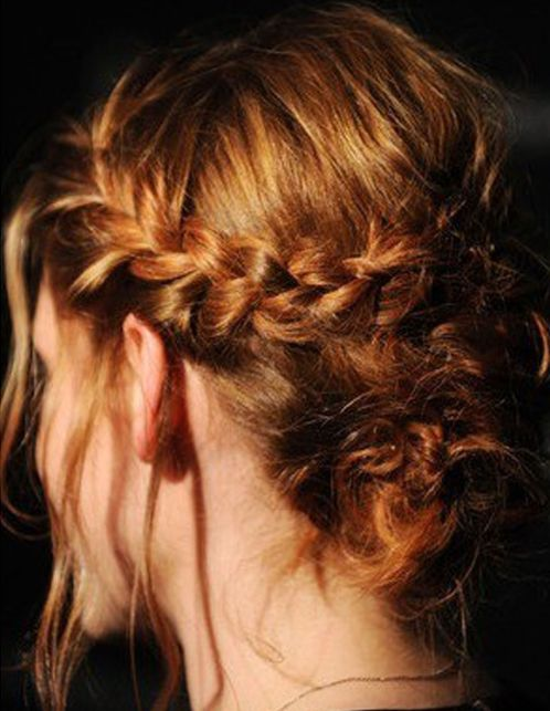 Kristen Stewart's Long Auburn Hair In Braided Formal Updo