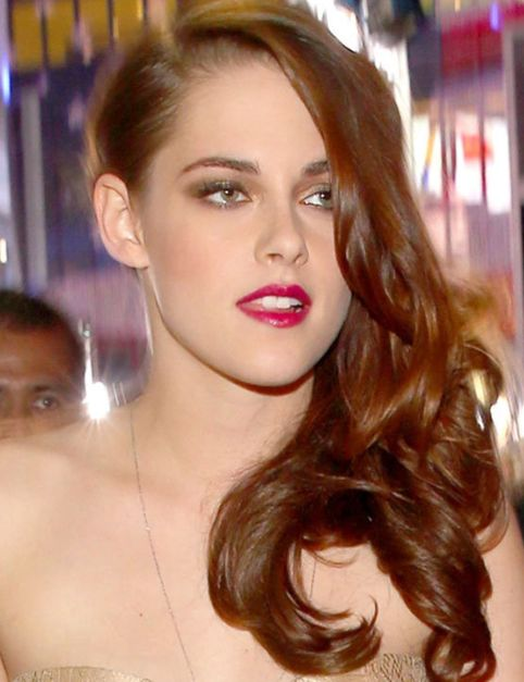Kristen Stewart's Long Layered Auburn Hair In Sideswept Hairdo
