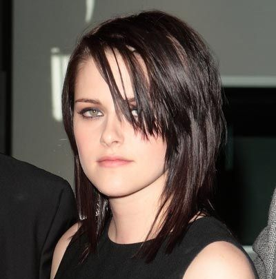 Kristen Stewart's Medium-Length Straight Black Shag Hairstyle