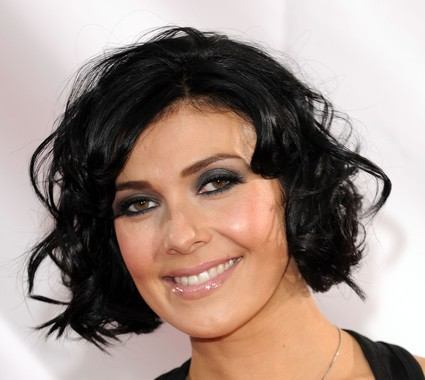 Kym Marsh's Sassy Flirty Black Short Wavy Mature Hairstyle
